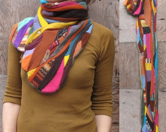 Multi-colored Upcycled Woolen Mosaic Scarf
