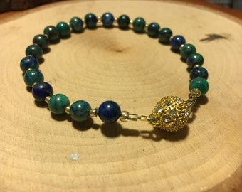 Chrysocolla Natural Gemstone Bracelet w/ Gold Magnet Clasp