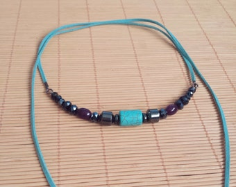 Short necklace turquoise and hematite, Bohemian Wrap Necklace