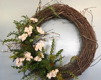 "32"" Grapevine Base, Spring Blossom & Fern Leaf Wreath"