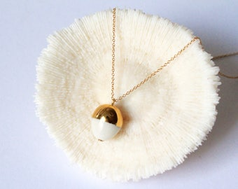 "16"" chain White Acorn Necklace - Reserved- Free shipping"