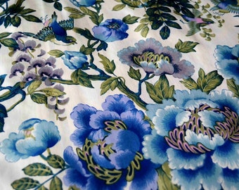 Antique French flowers and birds upholstery fabric, Boussac Romanex, blue cottage chic fabric