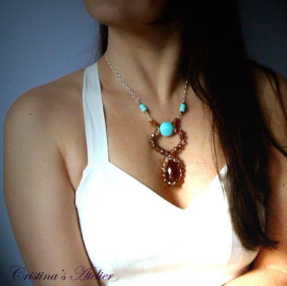 Hessonite garnet Peruvian opal gemstone necklace- Statement blue orange necklace- Women pendant gift-Fashion silver pendant-Valentine's gift