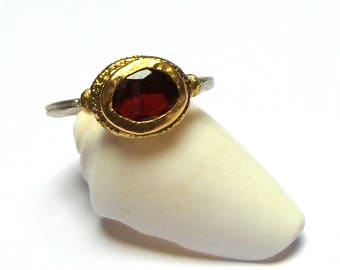 SALE - Garnet  Ring - Gold and Silver Ring - Stacking Ring - Rose Cut Ring - Gold ring - free shipping!!!