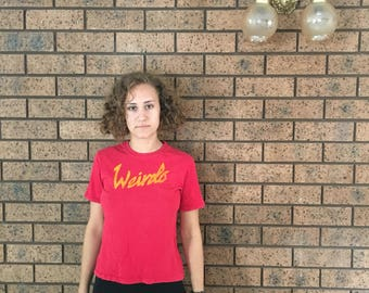 Weirdo tee in red - hand painted