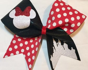 Disney Cheer Bow - Minnie Mouse Black with red and white polka dots