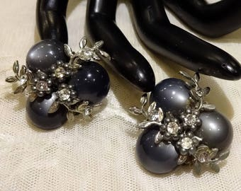 Vintage Dark Blue Thermoset Moonglow Cabochons and Clear Rhinestone Earrings