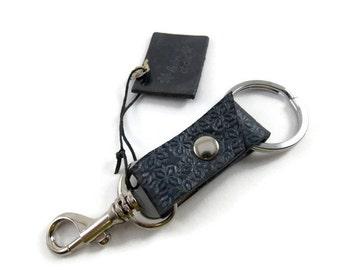 Key ring, leather key ring, key chain, key fob, key holder, metallic grey leather key, grey, leather key chain, cuirsetcompagnie