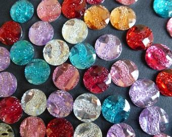 Multi colour round  rhinestones.   cardmaking, scrapbook, 12mm set of 50