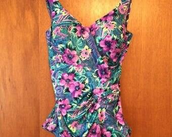 Vintage Women's Le Cove Purple Blue Floral One-Piece Bathing Suit 14