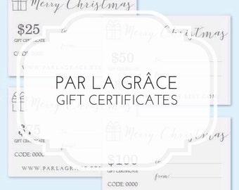 Gift Certificate for Par la Grace, Gift Card, Gift