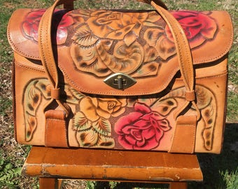 1960's vintage tooled leather roses handbag Mexico/60's tooled brown leather Mexico handbag/60's tooled leather Mexico hippie handbag