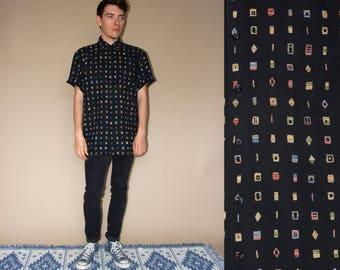 80's vintage men's black patterned shirt