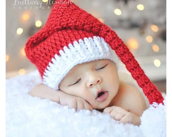 Newborn Santa Hat - Red and White Infant Hat - Christmas Photo Prop Hat - C