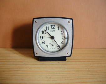 Soviet Union Russian USSR Mechanical small Table Clock ZARJA with Alarm Ussr era 1980s / smallest alarm clock / desk clock / collectible