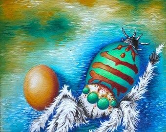 Mama Spider, colorful fuzzy spider protecting egg with impressionistic background
