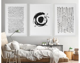 Set Of 3 Wall Art, Oversized Abstract, Large Abstract Art, Enso, Abstract