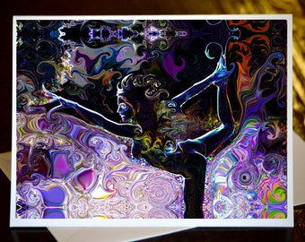 Natarajasana ~ Lord of The Dance Yoga Pose - Curated Greeting Card & Envelope - Description on Back with Original Art by Deprise