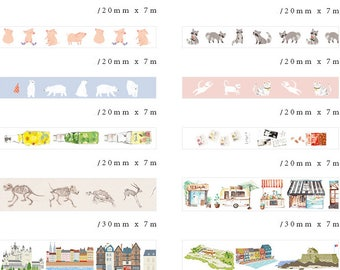 Animals Print Washi tape European town print Drink Snacks Print Washi tape