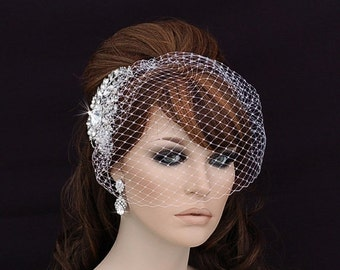 Bird Cage Veil , Blusher , Birdcage Veil and Comb , Bridal Comb ,  Wedding Comb , Bridal Hair Accessory , Crystal Bachelorette Veil