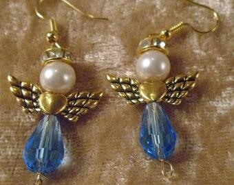 Swarovski Crystal Loving Angel Pierced Earrings In Goldtone, Purple, Blue, Pink, Yellow & Clear NIB FREE SHIPPING