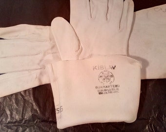 Vintage Kislav Cream Leather Gloves Size 7