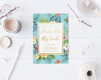DIY Printable Aqua Tropical Watercolour Floral Hibiscus Wedding Invitation | Main Invitation | Save the Date | RSVP | Details Available