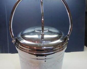 United Chromium on Solid Brass Hinged Lid Ice Bucket