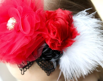Vintage Couture - Baby Headband - Girl Headband - Christmas - First Birthday - Photo Prop - Rosette - Red Tulle Flower - Pearl - Feather