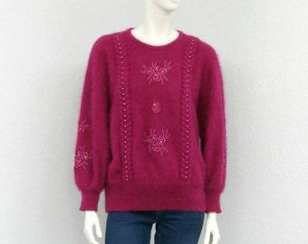 Vintage 80s Fuchsia Angora Sweater, Dolman Sweater, Batwing Sweater, Oversized Sweater, Fuzzy Sweater, Plus Size Sweater, Beaded Sweater