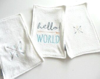 Made of  Bamboo Double Terry Embroidered  Burp Cloth/Wash Cloth Set