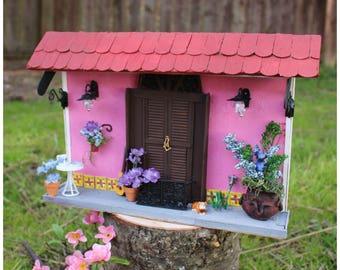 Puerto Rico pink Old San Juan Style, miniature houses, home decor, house decor, balcony.  Diorama miniature house.