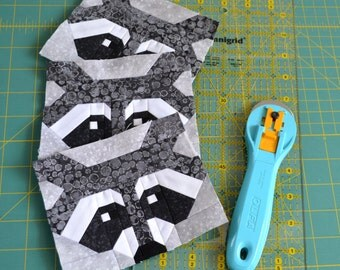 Raccoon Quilt BLOCK Pattern, PDF, Instant Download, modern patchwork, animal, cute, forest, woodland