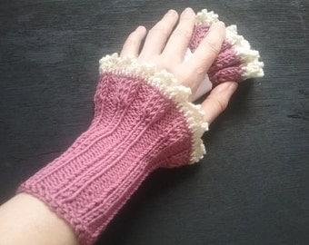 handknitted wristwarmer , cotton, pink