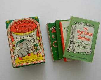 Christmas Nutshell Library. vintage miniature children's books by Hilary Knight.