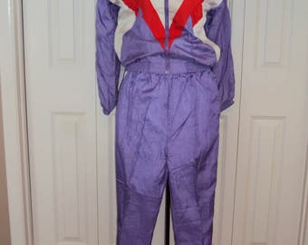 1980s-90s Purple/Red Orange/White Colorblock Nylon Jogging Suit/Wind Suit/ Workout Clothes/ 80s Wind Breaker Size S-M Petite Or Youth Large