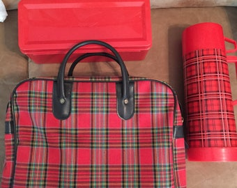 Vintage Aladdin Plaid Picnic Set thermos Camper Ready Red Glamping