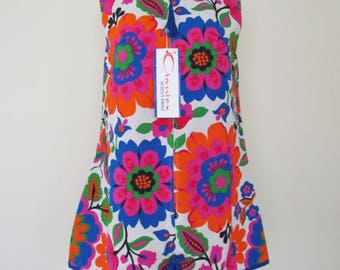New Dead Stock New Old Stock Vintage 1960s Crantex Screen Print Cotton Large Floral Print Mini Zippered Front Dress