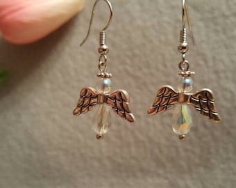 Angel Earrings, silver and crystal