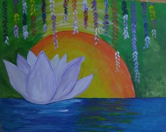 lotus (the art sherpa) and moon, acrylic painting