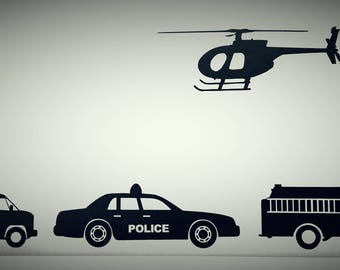 """Rescue Vehicles 6"""" Medium Vinyl Decals, Helicopter, Fire Truck, Police Car, Fire truck, Vinly Decals, Wall Decal, Wall Decals"""
