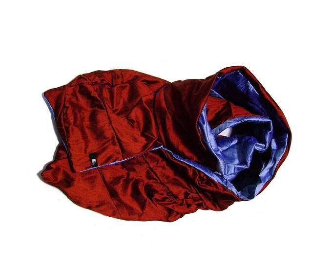 silkscarf  shawl stole patchwork: Scarf Amorph upcycling ICEBLUE RUST