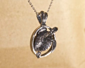 Sea Turtle Pendant - Hand Made in Sterling or Gold