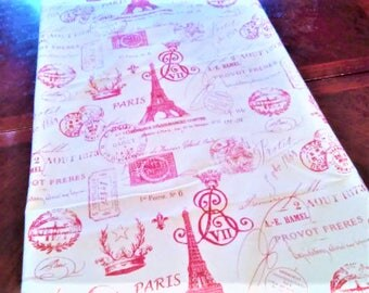 Table Runner, Red French Script Table Linen, French Eiffel Tower, Table Cloth/Scarf, French, Banquet, 16''x90'' Buffet Runner, Dresser Scarf