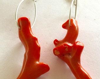 Peach Coral Branch Earrings