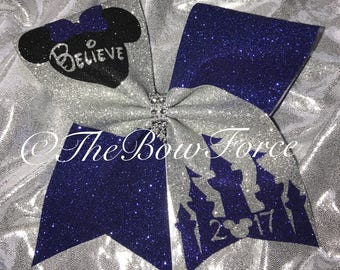 All Glitter Disney believe Inspired Cheer Bow