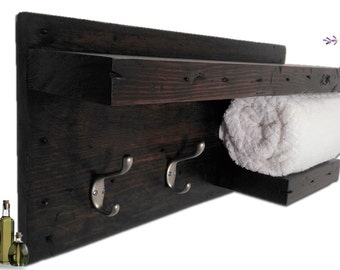 Reclaimed 1940s Wood Spa Bath Towel Holder Rustic Modern Display Two Shelf 2 Nickle Hooks Beach Cottage Farmhouse Wall Hanging Storage Unit