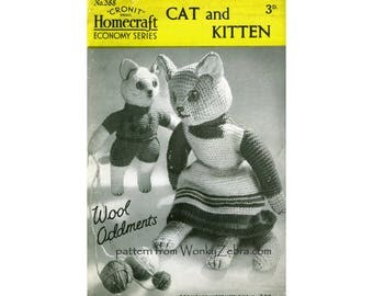 Vintage Knitted Cat and Kitten Pattern PDF 443 from ToyPatternLand and WonkyZebra