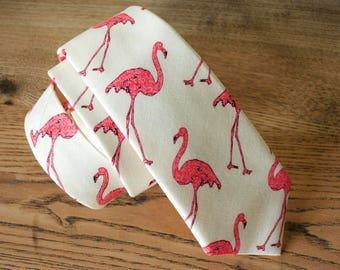 pink flamingos necktie,flamingo cotton tie,pink flaming cotton