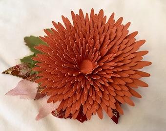 ON SALE! Burnt Orange Spider Mum Paper Flower